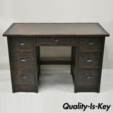 Vintage Chinese Carved Hardwood Cherry Blossom Tree Kneehole Writing Desk