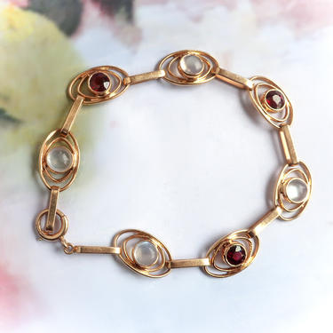 """RESERVED Final Payment 10/31— Art Deco Moonstone Garnet Rose Yellow Gold Bracelet Circa 1930s' 3.54ct t.w. 14k For 7.25"""" Wrist by YourJewelryFinder"""