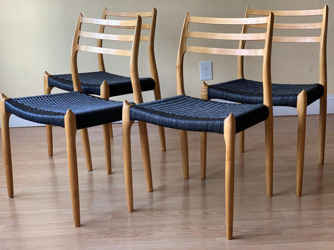 Set of four Møller Model 78 Side Chairs, Designed by Niels Otto Møller, by J.L. Møllers Møbelfabrik, tiger maple and Danish paper cord by ASISisNOTgoodENOUGH