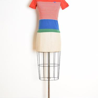 vintage 80s top striped henley t shirt tee shrunken preppy primary color XS XXS clothing by huncamuncavintage