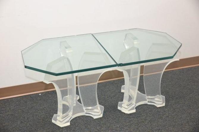 Pair of Jeffery Bigalow Lucite base and glass top tables