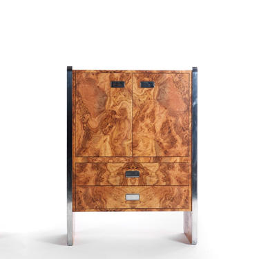 Mid 1970s Burlwood Laminate High Boy Dresser w/ Chrome Accents by ABTModern