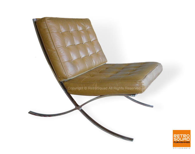 Knoll Style Mies Van Der Rohe, Barcelona Chair Vintage Reproduction Lounge Chair by RetroSquad