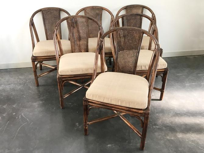 set of 6 vintage bamboo dining chairs by McGuire