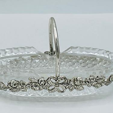 """Lovely Silver Plate Basket Glass Insert Oval Salt Cellar Silver Garland Floral Decoration- Glass spoon included- 4"""" X 2"""" by JoAnntiques"""