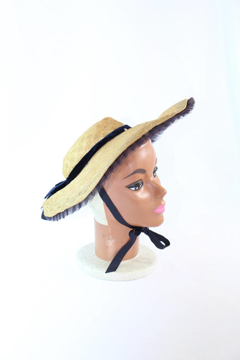 Vintage 1930s Wide Brim Hat Natural Beige Straw with Navy Blue Ribbon Trim by WalkinVintage