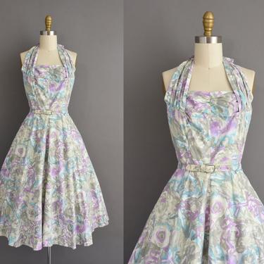vintage 1950s dress   Gorgeous purple & Gray Floral Print Cotton Halter Full Skirt Summer Dress   Small   50s vintage dress by simplicityisbliss