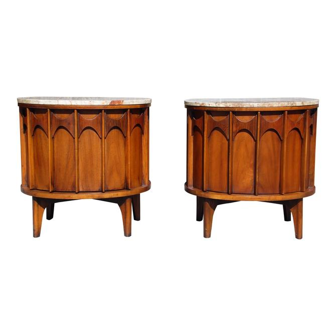 Pair Kent Coffey Perspecta Marble Top End Tables