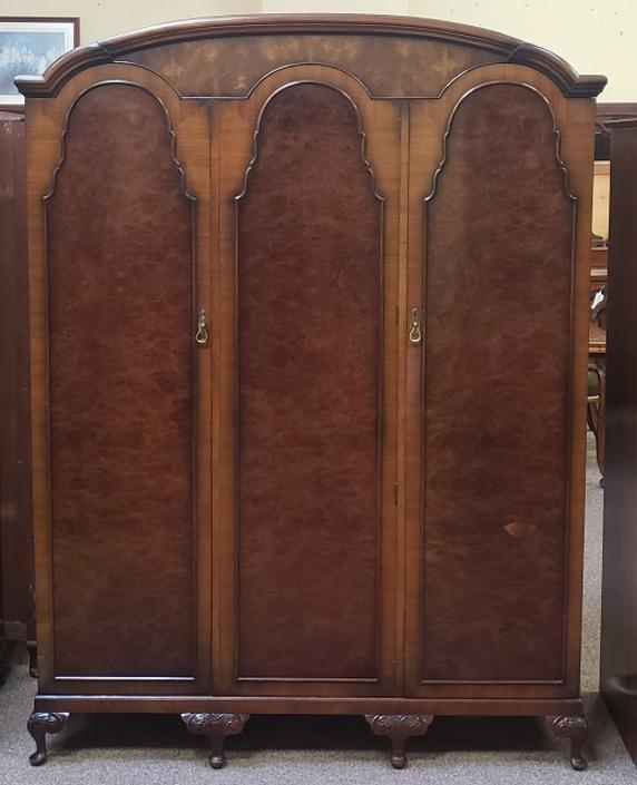 Item #S82 Vintage Triple Door Burl Walnut Armoire c.1930s