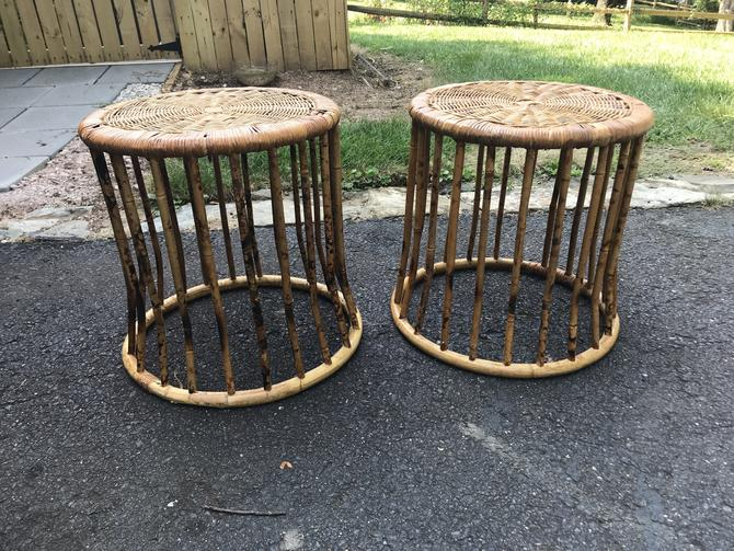 Pair of round bamboo side tables