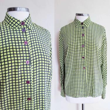 1980s Lime Green Check Print Silk Blouse Long Sleeved / 80s Button Down Shirt Green Navy Blue Graphic Print / Eleanor P Brenner/ M by RareJuleVintage