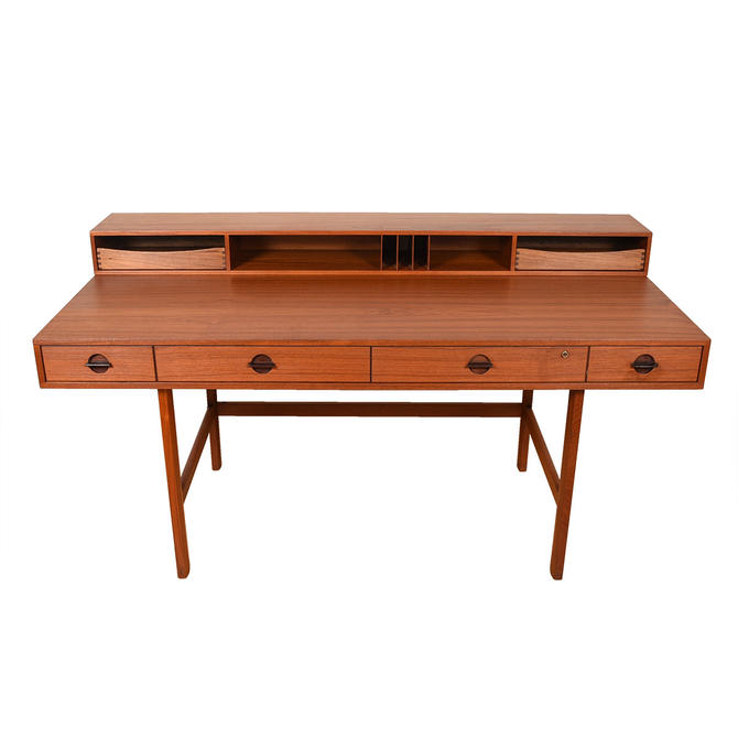 Early 1967 'Flip-Top' Danish Modern Teak Expanding Partner's Desk