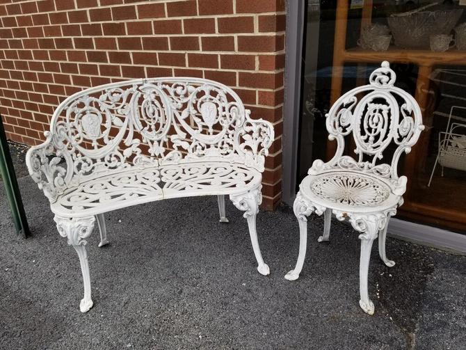 Vintage wrought iron Victorian style garden bench and chair