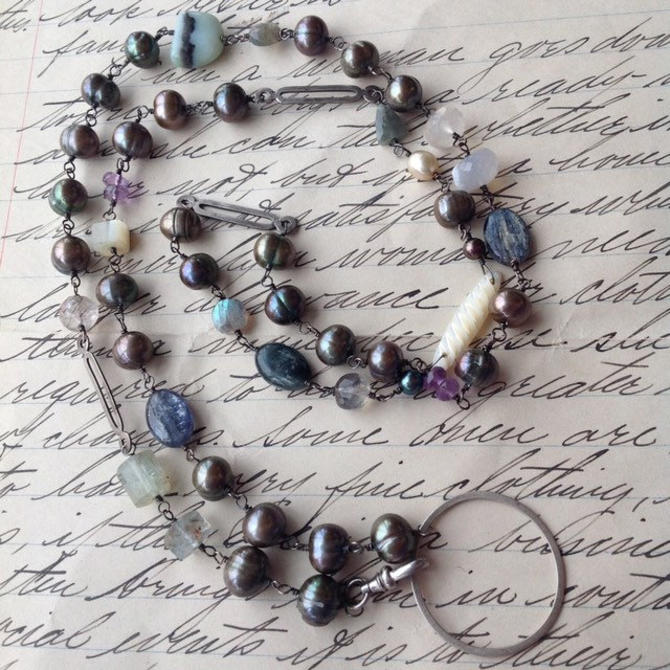RESERVED for Tracy - Gemstone Bead Necklace by nonasuch