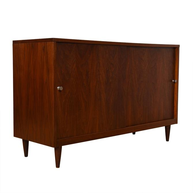 Mid Century Walnut Compact Sliding Door Sideboard