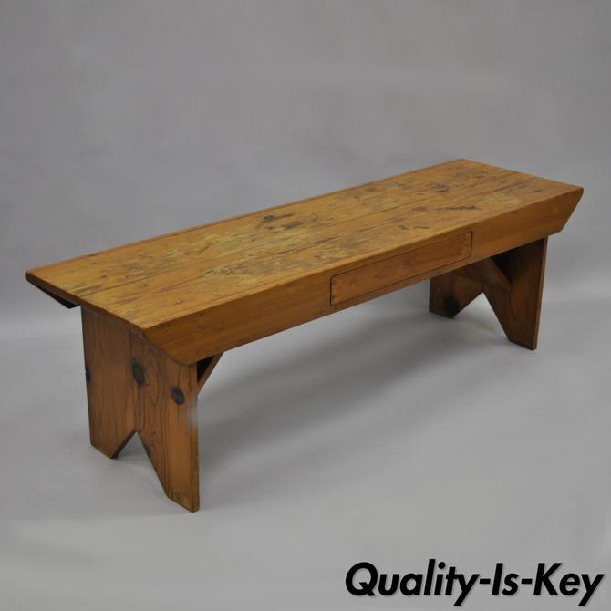 Groovy Handmade Pine Wood Vtg Bench Coffee Table W Drawer Frankydiablos Diy Chair Ideas Frankydiabloscom