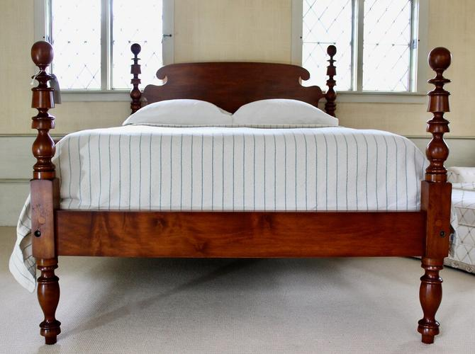 Ball & Bell Bed in Maple, Original Posts Circa 1830. Resized to Queen with Ram's Ear Headboard