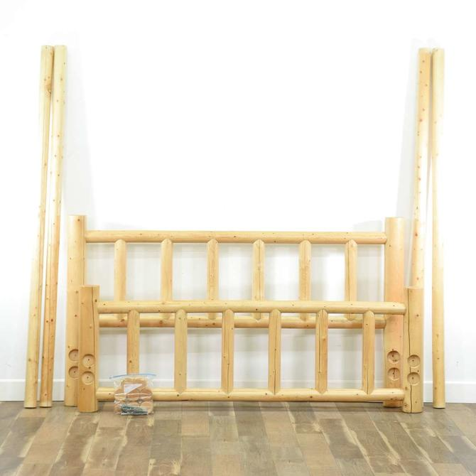 Rustic Raw Finish Country Farmhouse Bed Frame, King