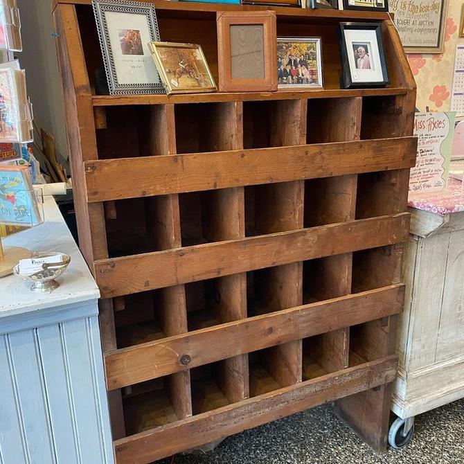 "Twenty hole antique cubby shelf, 39"" x 12.5"" x 61"""