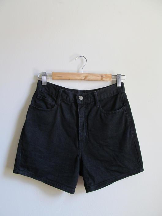 90s Black High Waist Jean Shorts S 28 Waist by pasadenavintage