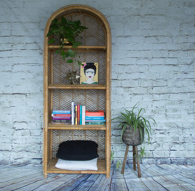 SHIPPING NOT FREE! Vintage Rattan Bookcase/ Wicker Etagere/ Display Shelf by WorldofWicker