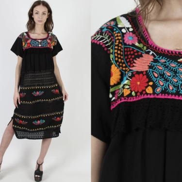 Black Cotton Crochet Mexican Dress Vintage Peacock Toucan Floral Paneled Embroidery Lace Shift Mexican Style Clothing Midi Dress by americanarchive