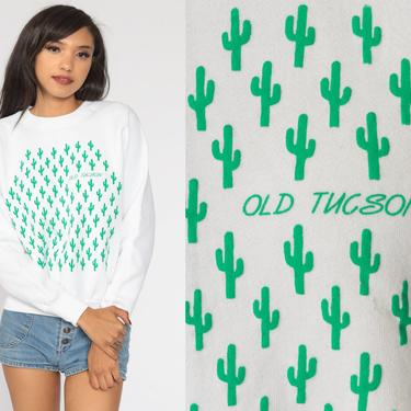 Tucson Cactus Sweatshirt 80s Old Tucson Shirt Southwest Sweater Desert Shirt 1980s Graphic Arizona Vintage White Raglan Sleeve Small Medium by ShopExile