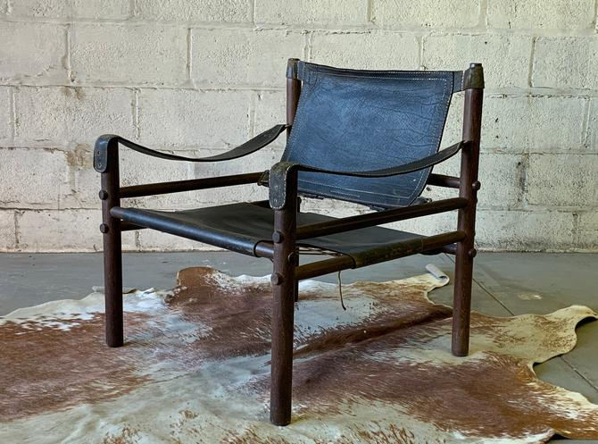 Mid Century MODERN Leather SAFARI CHAIR by Arne Norell, Made in Sweden by CIRCA60