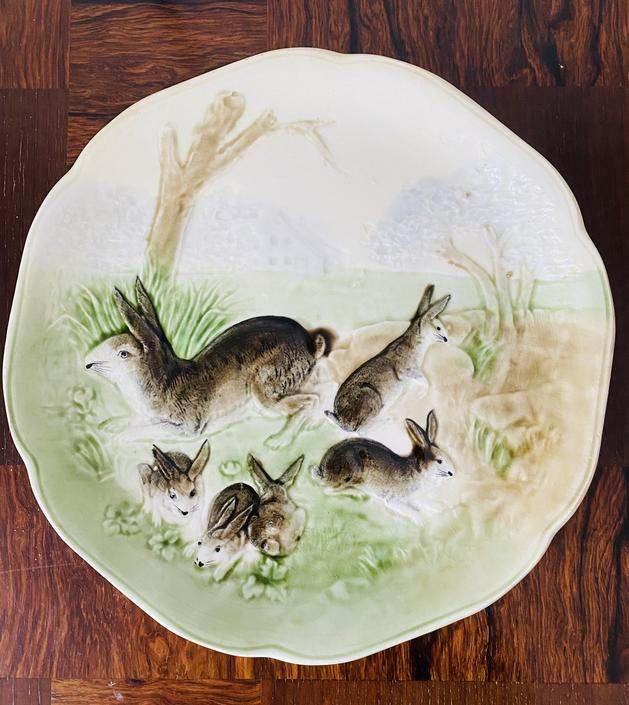 French Majolica Plate with Bunny Motif, c. 1910