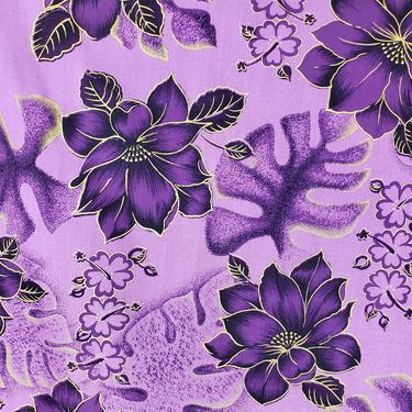 Vintage 1950's Hawaiian Novelty Floral Print Fabric / 60s Tropical Purple Gold Palm Leaf Fabric by SilhouettetsyVintage