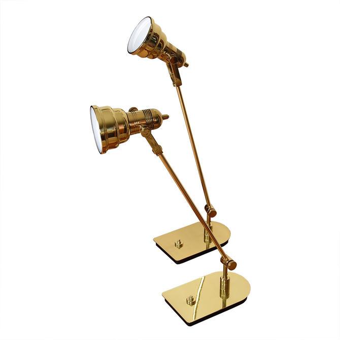 Pair of Nessen Mid Century Brass Adjustable Desk Lamps