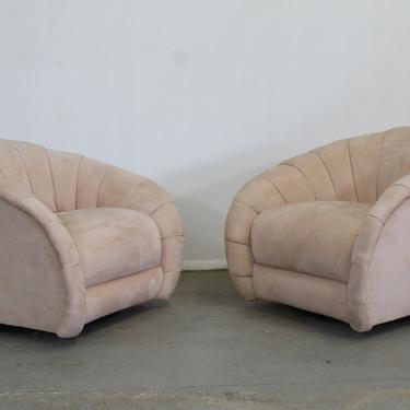 Pair of Mid-Century Modern Vladimir Kagan Style Swivel Club Chairs by AnnexMarketplace