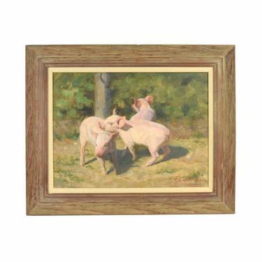 James Ingwersen Trio of Baby Pigs Piglets Painting Door County Wisconsion Artist by PrairielandArt