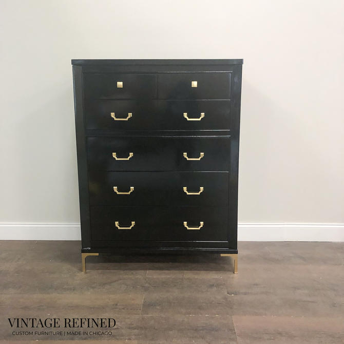 AVAILABLE: Black Lacquer Chest / Dresser by VintageRefinedDecor