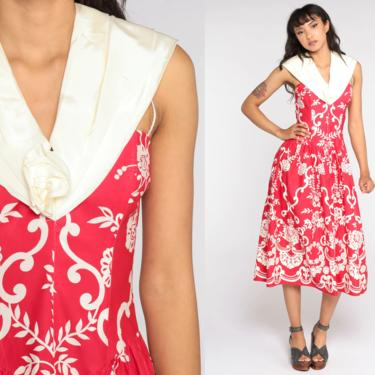 80s Party Dress Red Floral Dress 1980s Scott McClintock Formal Dress Low Waist Full Skirt Prom Dress Vintage Midi Print Small by ShopExile