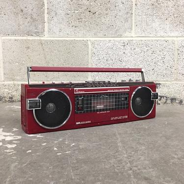 Vintage Radio Retro 1980s Sears, Roebuck and Co + SR 3000 + Model No. 560 + Red + Portable Audio + FM/AM + Cassette Player + Audio + Red by RetrospectVintage215