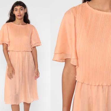 Orange Party Dress Grecian Dress 70s Midi FLUTTER SLEEVE 1970s Boho High Waist Drape Gown Formal Small by ShopExile