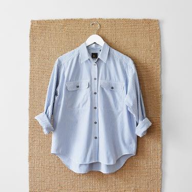 vintage 90s striped oxford, button down cotton shirt, size M / L by ImprovGoods