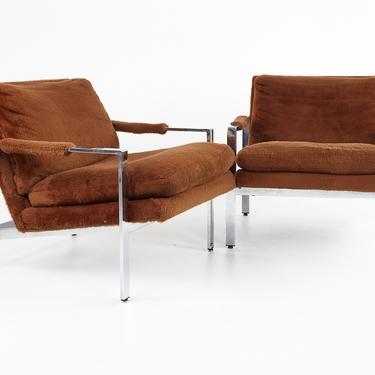 Thayer Coggin Mid Century Flatbar Chrome Lounge Chairs - Pair- mcm by ModernHill