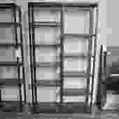 PAIR PRICED SEPARATELY NEW TALL IRON AND WOOD BOOKCASE/ETAGERE