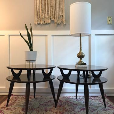 Round End Table Pair Mid Century Table Round walnut  wood side tables, end tables, two tier table 50s 60s by VintageCoreReStore