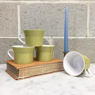 Vintage Mugs Retro 1970s Mikasa Duplex + Ben Seibel + Mid Century Modern + Avocado Green + Ceramic + Set of 4 + Home and Kitchen Decor by RetrospectVintage215
