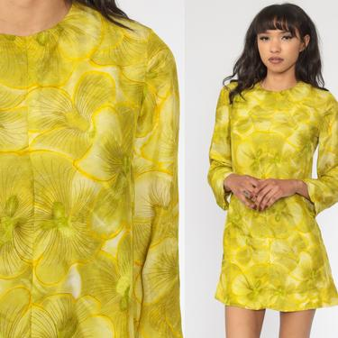 60s Mod Dress Green-Yellow Floral Mini Dress Psychedelic Sheath Hippie Vintage Boho Sixties Minidress Shift 1960s Retro Long sleeve Small by ShopExile