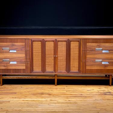 Restored Mid Century Modern American of Martinsville Nine Drawer Walnut and Cane Lowboy Dresser Credenza Sideboard by Merton Gershun by MidMod414