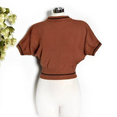 Vintage Sweater Top, Brown Pullover Knit Shirt, 1950's style Dolman Shaped Short Sleeve, Beatnik MOD style Mockneck Top Sweatshirt 1970's by Boutique369