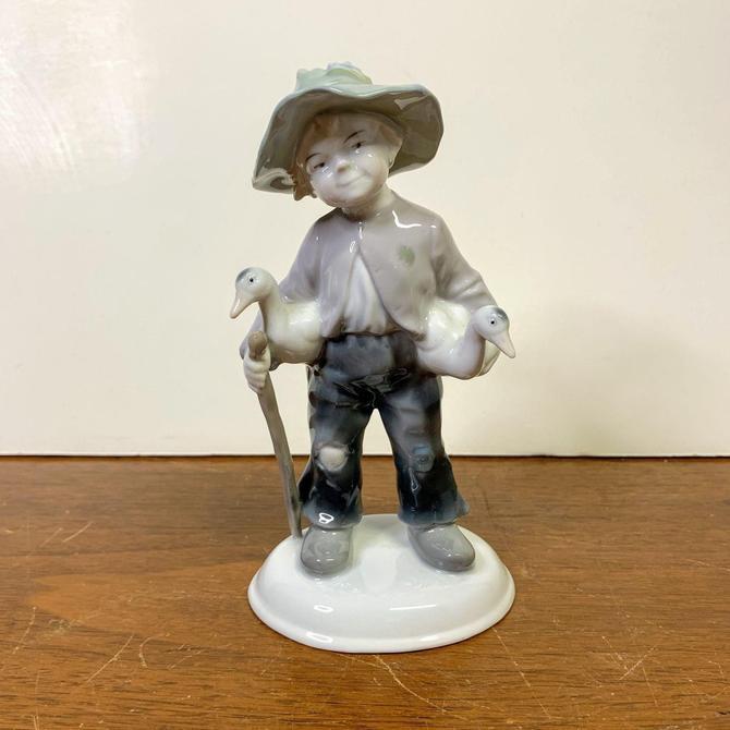 Vintage Metzler Ortloff 7212 Boy Holding Geese Figurine Germany by OverTheYearsFinds