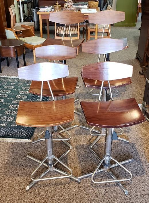 Item #Q17 Set of Six Vintage Chrome & Ply Bar Stools c.1960s