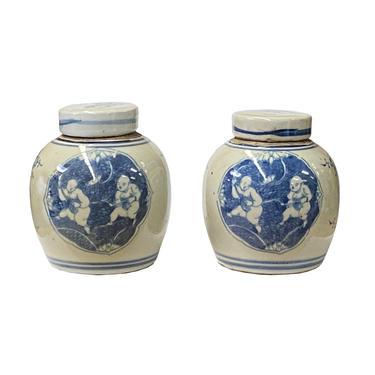 Pair Blue White Small Oriental Double Kids Porcelain Ginger Jars ws1378E by GoldenLotusAntiques