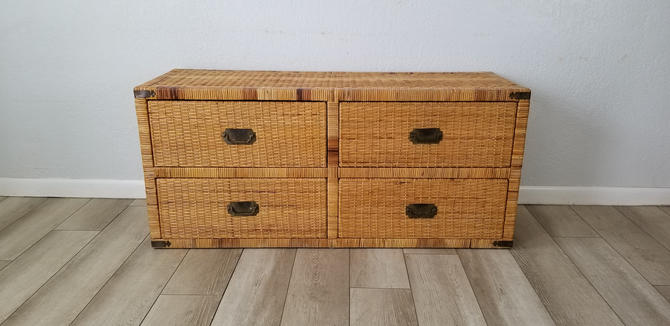 Palm Beach Campaingn Style Six Drawer Rattan Dresser . by MIAMIVINTAGEDECOR