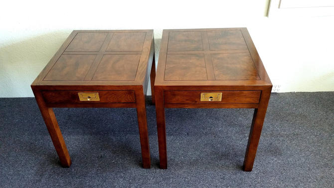Pair Henredon Campaign Walnut with Parquet Burl Wood End Tables / Nightstands by ModernPicks
